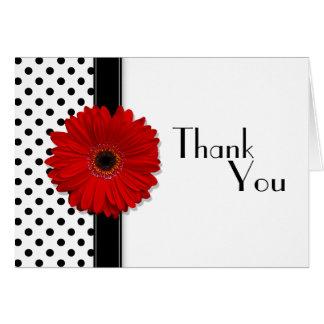 Red Gerber Black White Polka Dot Wedding Thank You Cards