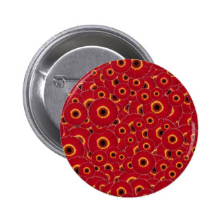 Red Gerber Daisies 2 Inch Round Button