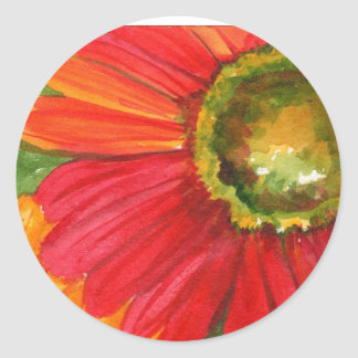 Red Gerber Daisy Classic Round Sticker