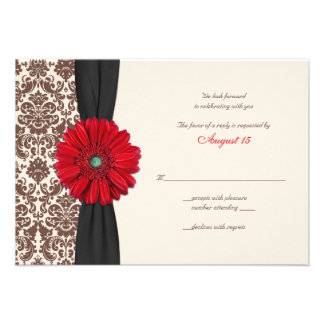 Red Gerber Daisy Damask Reply Card Custom Invites