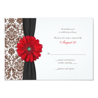 Red Gerber Daisy Damask Reply Card Invite