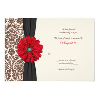Red Gerber Daisy Damask Reply Card Custom Invites