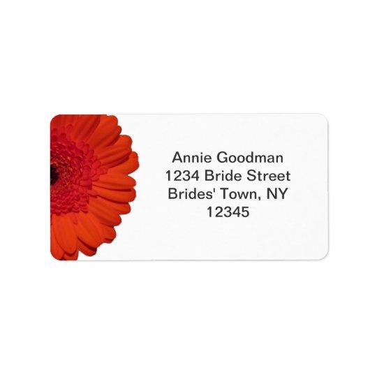 Red Gerber Daisy Wedding RSVP Return Address Label