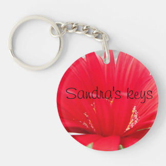 Red Gerber Gerbera daisy create your own Double-Sided Round Acrylic Keychain