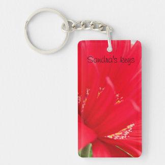 Red Gerber Gerbera daisy create your own Double-Sided Rectangular Acrylic Keychain