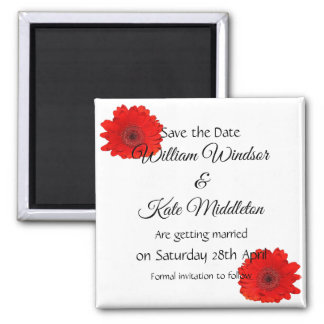 Red Gerbera custom Wedding Save the Date Magnet