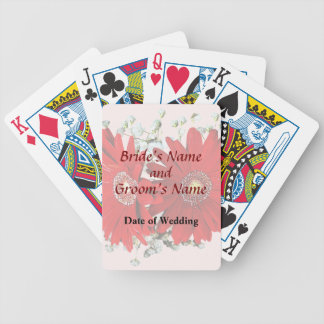 Red Gerbera Daisies and Stephanotis Wedding Favors Poker Deck