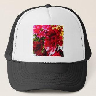 Red Gerbera Daisy Abstract Trucker Hat