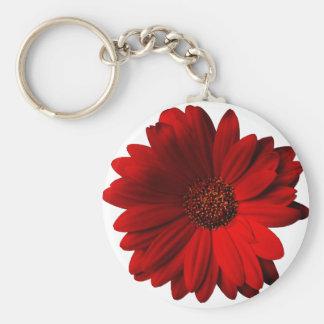 Red Gerbera Daisy Basic Round Button Keychain