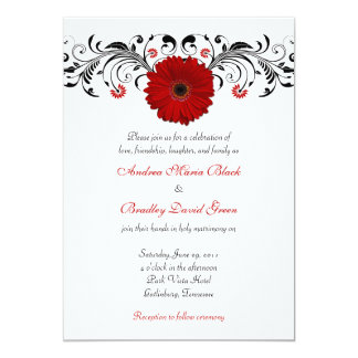 Red Gerbera Daisy Black Floral Wedding Invitation