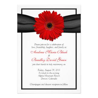 Red Gerbera Daisy Black Ribbon Wedding Invitation
