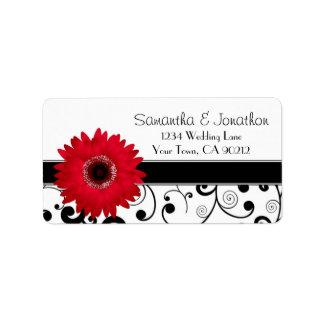 Red Gerbera Daisy Black White Scroll Address Label