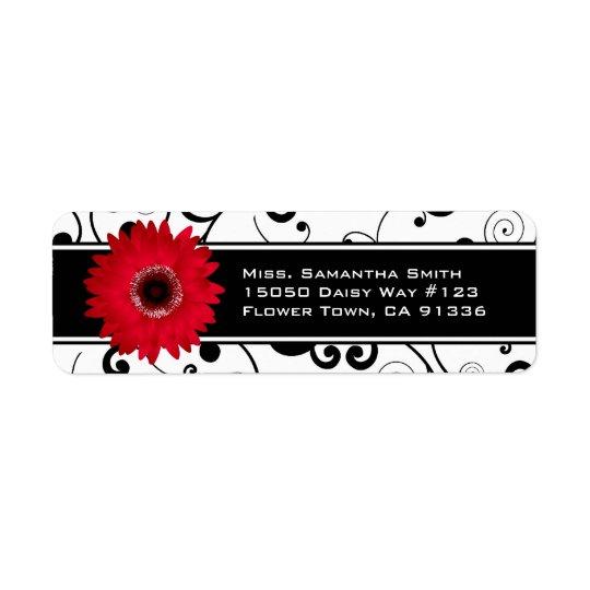 Red Gerbera Daisy Black & White Scroll Return Address Label