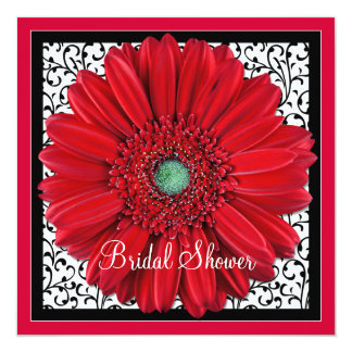 Red Gerbera Daisy Bridal Shower Invitation