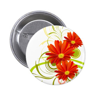Red Gerbera Daisy 2 Inch Round Button