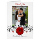 Red Gerbera Daisy Floral Photo Wedding Thank You Card