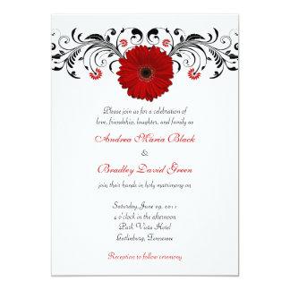 Red Gerbera Daisy Floral Wedding Invitation