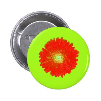 Red Gerbera Daisy Pinback Button