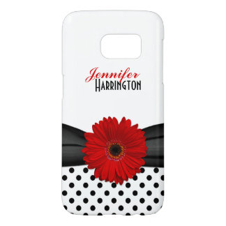 Red Gerbera Daisy Polka Dot Samsung Galaxy Case