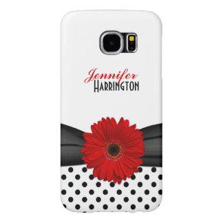 Red Gerbera Daisy Polka Dot Samsung Galaxy Case