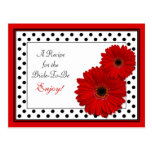 Red Gerbera Daisy Recipe Card for the Bride to Be Postcard