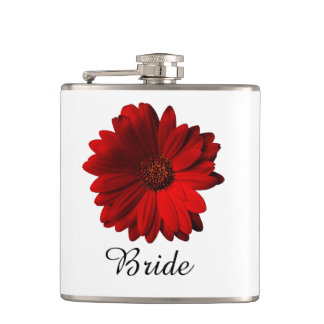 Red Gerbera Daisy Wedding Hip Flask