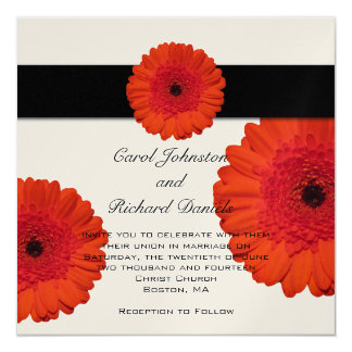 Red Gerbera Daisy Wedding Invitation