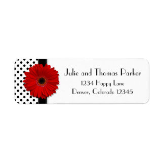 Red Gerbera Daisy Wedding Return Address Labels