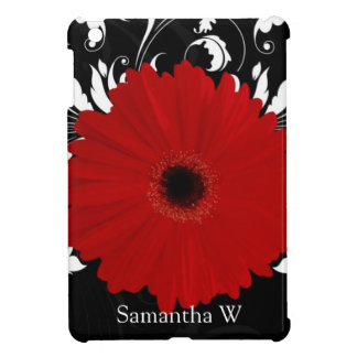 Red Gerbera Daisy with Black and White Swirl iPad Mini Covers