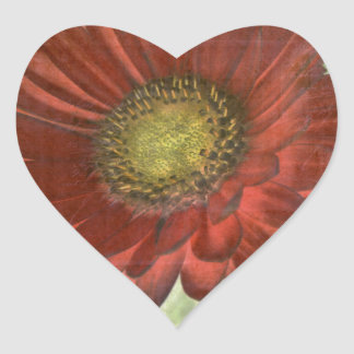 Red Gerbera Heart Sticker