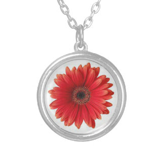 Red Gerbera Round Pendant Necklace