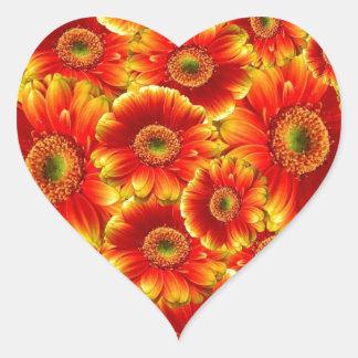 Red Gerberas Heart Sticker