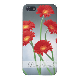Red Gerberas on a blue gray background iPhone 5 Cases