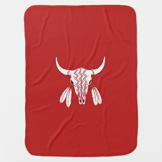 Red Ghost Dance Buffalo baby blanket (2 side)