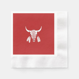 Red Ghost Dance Buffalo cocktail coin paper napkin
