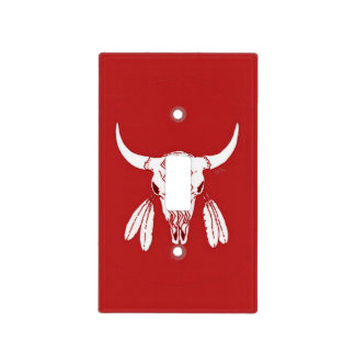 Red Ghost Dance Buffalo light switch cover