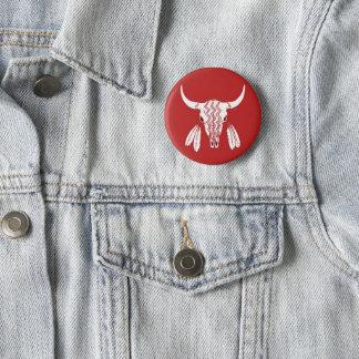 Red Ghost Dance Buffalo standard round button