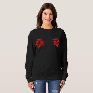 red gift bow womens sweatshirt