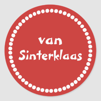 Red gift sticker text of Saint Nicholas