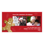 Red gingerbread man sweet candy canes Christmas Photo Cards