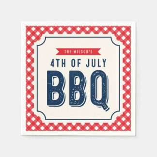 Red Gingham and Blue 4th of July BBQ Paper Napkin