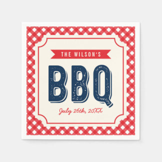 Red Gingham and Blue BBQ Party Paper Napkin