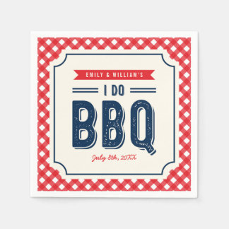 Red Gingham and Blue Engagement Party I Do BBQ Disposable Napkins