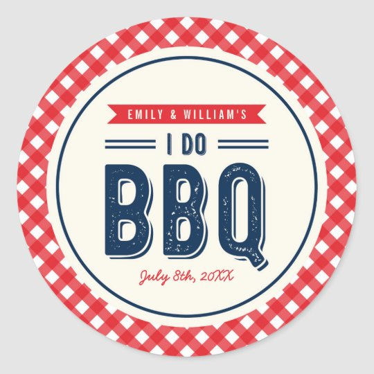 Red Gingham and Blue I Do BBQ Engagement Party Classic Round Sticker