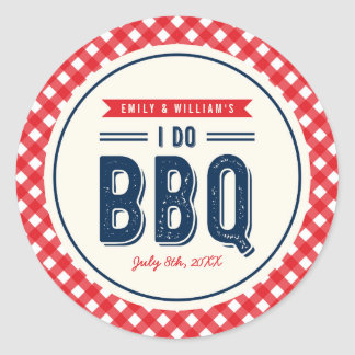 Red Gingham and Blue I Do BBQ Engagement Party Round Sticker
