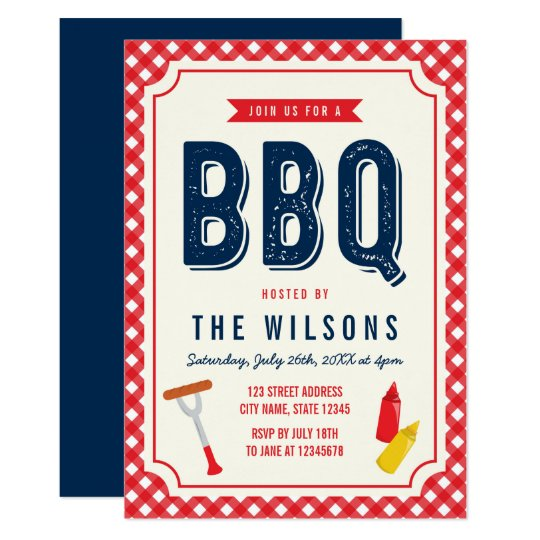 Red Gingham and Blue Summer BBQ Card