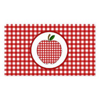 Red Gingham Apple Fashion Teacher Business Card