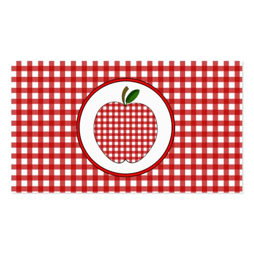 Red Gingham Apple Fashion Teacher Business Card