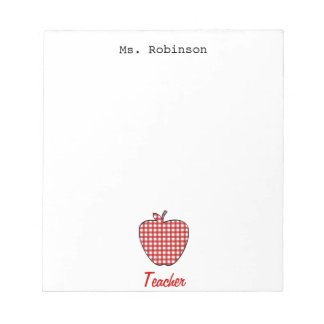 Red Gingham Apple Teacher Notepad