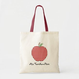 Red Gingham Apple Teacher Tote Bag